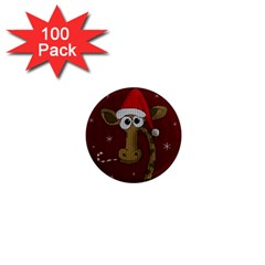 Christmas Giraffe  1  Mini Magnets (100 Pack)  by Valentinaart