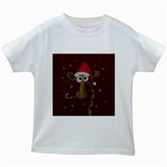 Christmas Giraffe  Kids White T Shirts