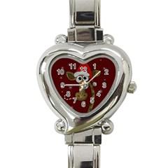 Christmas Giraffe  Heart Italian Charm Watch by Valentinaart