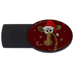 Christmas Giraffe  Usb Flash Drive Oval (4 Gb) by Valentinaart