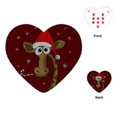Christmas Giraffe  Playing Cards (heart)  by Valentinaart