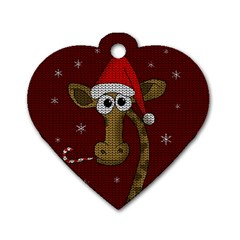 Christmas Giraffe  Dog Tag Heart (one Side) by Valentinaart