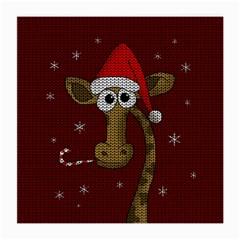Christmas Giraffe  Medium Glasses Cloth (2 Side) by Valentinaart