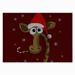 Christmas Giraffe  Large Glasses Cloth by Valentinaart