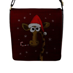 Christmas Giraffe  Flap Messenger Bag (l)  by Valentinaart