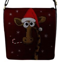 Christmas Giraffe  Flap Messenger Bag (s) by Valentinaart