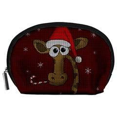 Christmas Giraffe  Accessory Pouches (large)  by Valentinaart