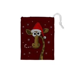 Christmas Giraffe  Drawstring Pouches (small)  by Valentinaart