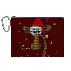 Christmas Giraffe  Canvas Cosmetic Bag (xl) by Valentinaart