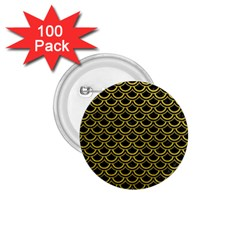 Scales2 Black Marble & Yellow Leather (r) 1 75  Buttons (100 Pack)  by trendistuff