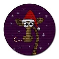 Christmas Giraffe  Round Mousepads by Valentinaart