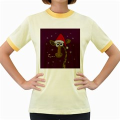 Christmas Giraffe  Women s Fitted Ringer T Shirts by Valentinaart