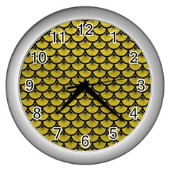 Scales3 Black Marble & Yellow Leather Wall Clocks (silver)  by trendistuff
