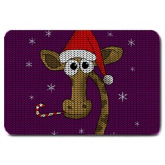 Christmas Giraffe  Large Doormat  by Valentinaart