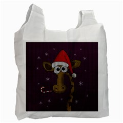 Christmas Giraffe  Recycle Bag (one Side) by Valentinaart