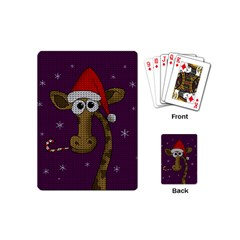 Christmas Giraffe  Playing Cards (mini)  by Valentinaart