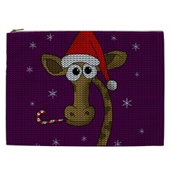 Christmas Giraffe  Cosmetic Bag (xxl)  by Valentinaart