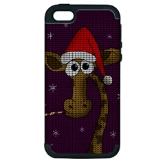 Christmas Giraffe  Apple Iphone 5 Hardshell Case (pc+silicone) by Valentinaart