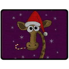 Christmas Giraffe  Double Sided Fleece Blanket (large)  by Valentinaart