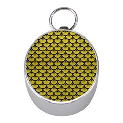 Scales3 Black Marble & Yellow Leather Mini Silver Compasses by trendistuff