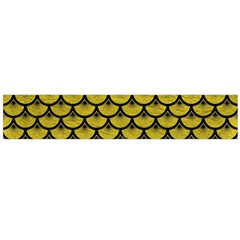 Scales3 Black Marble & Yellow Leather Large Flano Scarf  by trendistuff