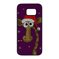 Christmas Giraffe  Samsung Galaxy S7 Edge Black Seamless Case by Valentinaart