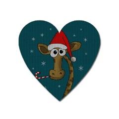 Christmas Giraffe  Heart Magnet by Valentinaart