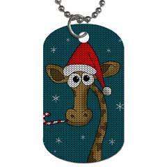 Christmas Giraffe  Dog Tag (one Side) by Valentinaart