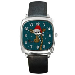 Christmas Giraffe  Square Metal Watch by Valentinaart