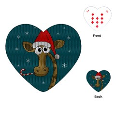 Christmas Giraffe  Playing Cards (heart)  by Valentinaart