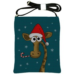 Christmas Giraffe  Shoulder Sling Bags by Valentinaart