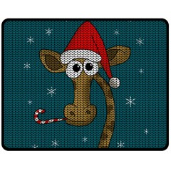Christmas Giraffe  Fleece Blanket (medium)  by Valentinaart