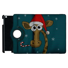 Christmas Giraffe  Apple Ipad 2 Flip 360 Case by Valentinaart