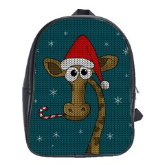 Christmas Giraffe  School Bag (xl) by Valentinaart