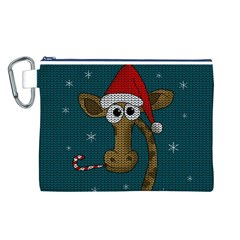 Christmas Giraffe  Canvas Cosmetic Bag (l) by Valentinaart