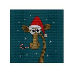 Christmas Giraffe  Small Satin Scarf (square) by Valentinaart