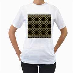 Scales3 Black Marble & Yellow Leather (r) Women s T Shirt (white) (two Sided)