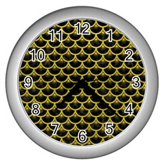 Scales3 Black Marble & Yellow Leather (r) Wall Clocks (silver)  by trendistuff