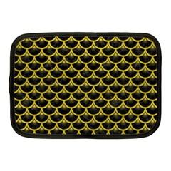 Scales3 Black Marble & Yellow Leather (r) Netbook Case (medium)  by trendistuff