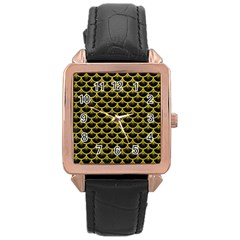 Scales3 Black Marble & Yellow Leather (r) Rose Gold Leather Watch  by trendistuff