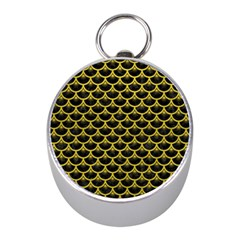 Scales3 Black Marble & Yellow Leather (r) Mini Silver Compasses by trendistuff