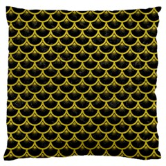 Scales3 Black Marble & Yellow Leather (r) Large Flano Cushion Case (one Side) by trendistuff