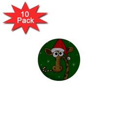 Christmas Giraffe  1  Mini Buttons (10 Pack)  by Valentinaart