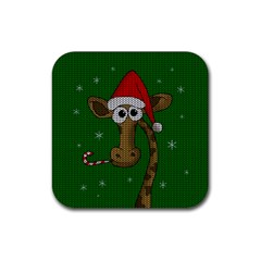 Christmas Giraffe  Rubber Square Coaster (4 Pack)  by Valentinaart