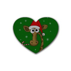 Christmas Giraffe  Rubber Coaster (heart)  by Valentinaart
