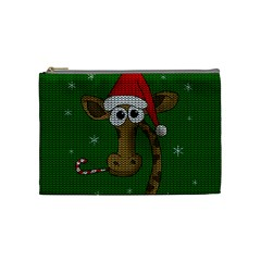Christmas Giraffe  Cosmetic Bag (medium)  by Valentinaart