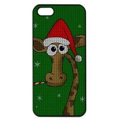 Christmas Giraffe  Apple Iphone 5 Seamless Case (black) by Valentinaart