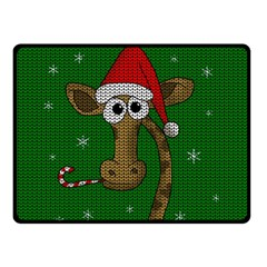 Christmas Giraffe  Double Sided Fleece Blanket (small)  by Valentinaart