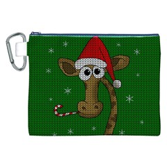 Christmas Giraffe  Canvas Cosmetic Bag (xxl) by Valentinaart