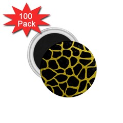 Skin1 Black Marble & Yellow Leather 1 75  Magnets (100 Pack)  by trendistuff